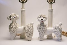 A Pair (2) of  Italy Majolica French Spaghetti Poodle Dog Ceramic Pottery Lamps