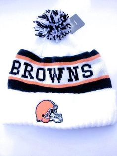 d2fbe7a6939 CLEVELAND BROWNS NFL CUFFED WHITE LATERAL POM KNIT BEANIE HAT CAP BY REEBOK  by NFL. Save 27 Off!.  15.99. Officially licensed by the NFL - ITEM ...