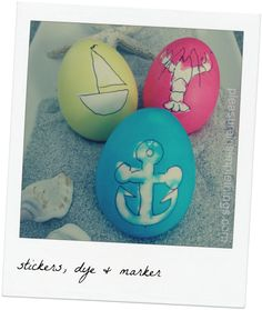 Coastal easter eggs made with dye and rubber stamp.