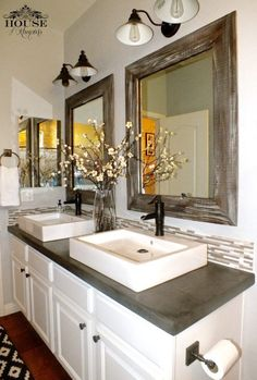 Paint colour Sutton Place by Behr.  Semi vessel double sinks on concrete countertop on vanity. Rustic and restful