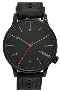 Komono 'Winston' Round Dial Brogue Leather Strap Watch, 42mm available at #Nordstrom