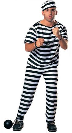 Prisoner Mens Fancy Dress Cops /& Robbers Convict Outlaw Adults Cosplay Costume