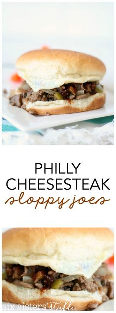 Philly Cheesesteak Sloppy Joes Recipe from SixSistersStuff.com | A new twist on the delicious classic! One your kid will gobble up!