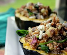 Roasted Acorn Squash Stuffed with Fennel Sausage, Farro, Goat Cheese and Spinach