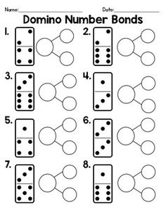Domino Number Bonds: A quick and easy way practice number bonds. This product includes a practice sheet with the domino dots and a second sheet with no dots, so students could use real dominos to record their work. Numbers Kindergarten, Math Numbers, Eureka Math, Singapore Math, Math Addition, Addition Games, Math Work, Second Grade Math, Kindergarten Math