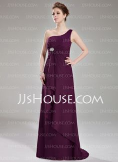 Bridesmaid Dresses - $118.99 - A-Line/Princess One-Shoulder Sweep Train Chiffon Bridesmaid Dress With Ruffle Crystal Brooch (007004139) http://jjshouse.com/A-Line-Princess-One-Shoulder-Sweep-Train-Chiffon-Bridesmaid-Dress-With-Ruffle-Crystal-Brooch-007004139-g4139
