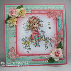 Alshandra, Alshandra's corner, Elizabeth Whisson, handmade card, copics, stamping, whimsy stamps, sweet blossom