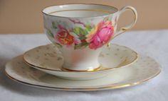 Paragon Vintage Trio Tea Cup Saucer Plate Golden Emblem