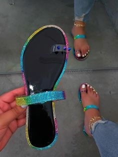 Bling Sandals, Two Strap Sandals, Sandals Outfit, Cute Sandals, Fashion Sandals, Flip Flop Sandals, Shoes Sandals, Flats, Cute Slippers