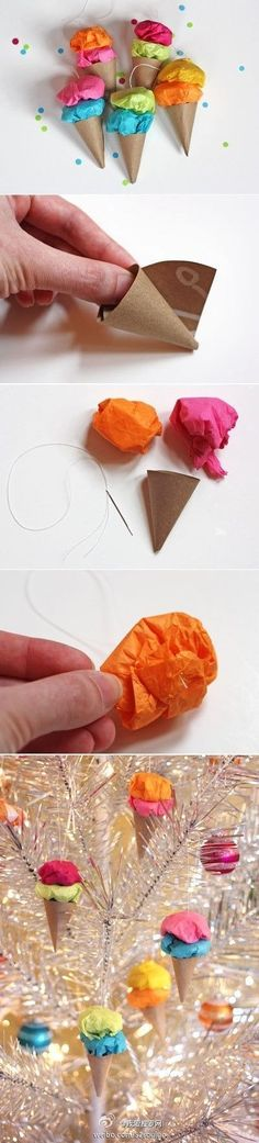 """Christmas! Easy paper ice cream ornaments that would be perfect for my new """"candy"""" like theme on the tree this year! :) :)"""