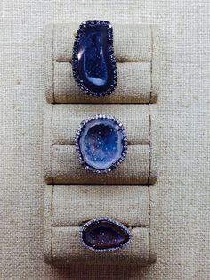 Kimberly McDonald geode and diamond rings