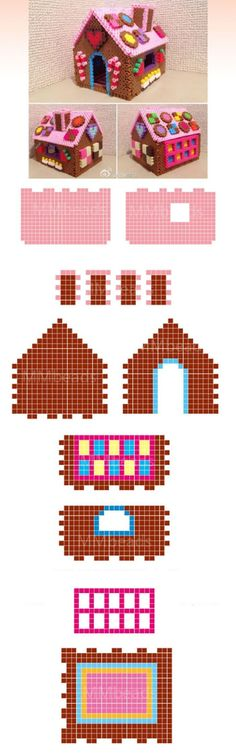 Gingerbread house from hama beads Perler Bead Designs, Hama Beads Design, Christmas Perler Beads, 3d Christmas, Christmas Gingerbread, 3d Perler Bead, Diy Perler Beads, Pearler Bead Patterns, Perler Patterns