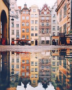 With a rich heritage, swoon-worthy architecture and a World War II bunker-turned-nightclub, Gdansk is catching the eye of travellers keen… Oh The Places You'll Go, Places To Travel, Places To Visit, Reflection Photos, Reflection Photography, Gdansk Poland, Photocollage, Belle Villa, Travel Goals