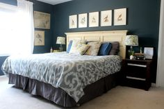 A Vintage Master Bedroom. Tour this master bedroom painted a deep blue-teal full of vintage finds and complete with a hand-painted octopus! Bird Bedroom, Bedding Master Bedroom, Master Bedrooms, Master Suite, Bedroom Themes, Bedroom Decor, Bedroom Ideas, Bedroom Inspiration, Interior Inspiration