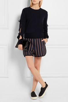 Sacai | Striped cotton-blend shorts | NET-A-PORTER.COM