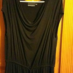 NWOT black dress Loose cowl neck drape, short sleeves, drawstring waist. A warm weather dress to wear with strappy sandals. Never worn Cynthia Rowley Dresses