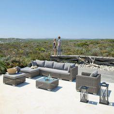 Cape Town - Esquina de sofá de jardín de resina trenzada gris - Maison Du Monde