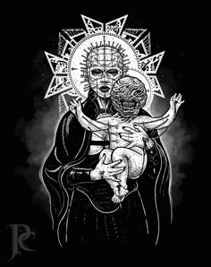 Madonna (Female Pinhead) and Chatterer by Parin Cashmony. Wall Tattoo, Body Art Tattoos, Tatoos, Horror Artwork, Dark Images, Creepy Art, Sci Fi Art, Macabre, Occult