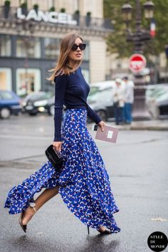 maxi skirt with slit and prints