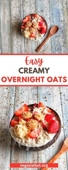 This easy vegan overnight oatmeal recipe is a simple recipe that will help you meal-prep your breakfast like a pro! It is a basic recipe that will give you a guide to flavor your raw oat breakfasts the way you want. Easy, quick, amazing for a vegan breakfast, healthy and completely plant-based. Vegan Desserts, Vegan Recipes, Raw Oats, Healthy Vegan Breakfast, Overnight Oatmeal, Make Ahead Lunches, Oatmeal Recipes, Easy Meals, Tasty