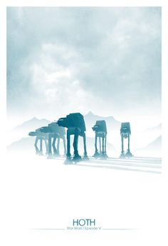 Empire Strikes Back (Episode V) Hoth Poster | Via: GeekTyrant (#starwars #hoth #starwarsepisodev #empirestrikesback #starwarsfanart)