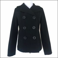 """Black Waist Length Pea Coat Waist length double breasted pea coat. Fully lined. Additional details:     Color: Black   Fabric: 40% Wool; 30% Polyester; 12% Acrylic; 9% Rayon; 7% Nylon; 2% Other   Size: Small   Bust: 17.5"""" armpit to armpit   Length: 24""""   Condition: Pre-loved/good condition Old Navy Jackets & Coats Pea Coats"""