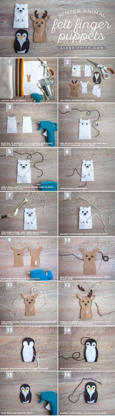 Cats Toys Ideas - Make an adorable set of animal felt finger puppets with these printable patterns and tutorial from handcrafted lifestyle expert Lia Griffith. - Ideal toys for small cats Felt Puppets, Felt Finger Puppets, Sewing For Kids, Diy For Kids, Crafts For Kids, Felt Diy, Felt Crafts, Sewing Crafts, Sewing Projects