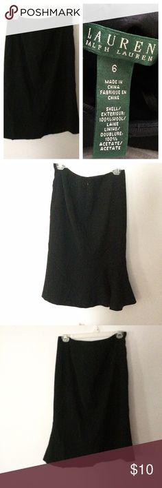 Lauren Ralph Lauren career black skirt Beautiful black skirt, perfect for the office. Fully lined. Small ruffle detail on bottom of skirt, zip up back. Exterior: 100% wool, lining: 100% acetate. Size 6 Lauren Ralph Lauren Skirts