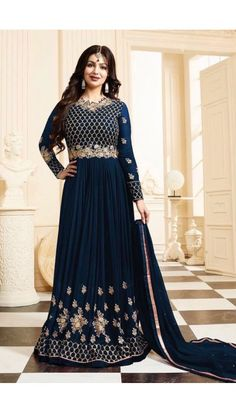 Ayesha Takia Blue Georgette Anarkali Churidar Suit With Dupatta - DMV14736B