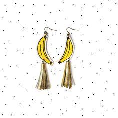 Image of Banana Earrings, Yellow Earrings, Gold Tassel Earrings, Fruit Earrings, Pop Art Jewelry Gold Tassel Earrings, Yellow Earrings, Tassel Jewelry, Leather Earrings, Statement Earrings, Jewelry Art, Jewellery Diy, Leather Tassel, Gold Leather