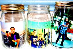 Photo frames using mason jars. I like this because I can put other things in the jar to make them unique. (like a picture at the beach can have sand and shells in it too!)