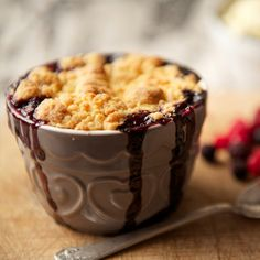 This berry crumble recipe can be made into cute individual servings and topped with vanilla ice cream or plain yogurt.