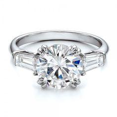 GIA Certified Round Diamond Engagement Ring 3 Stone 2.10 Carat 18k White Gold #DiamondsByElizabeth #SolitairewithAccents