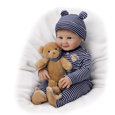 Momma's Little Cub Baby Doll and Teddy by Artist Sherry Miller: Ashton Drake Reborn Toddler Dolls, Reborn Dolls, Reborn Babies, Dolls Dolls, Boy Baby Doll, Realistic Baby Dolls, Ashton Drake, Big Hugs, Baby Born
