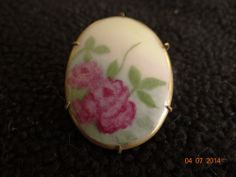 Antique Victorian Hand Painted Porcelain Pin Brooch - Flowers