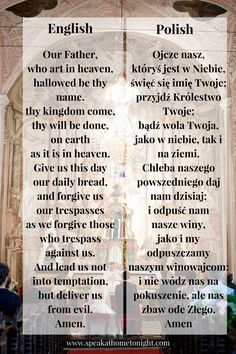 Our Father in Polish, pray in Polish, learn Polish, Polish prayer, Ojcze Nasz Ora Et Labora, Croatian Tattoo, Dubrovnik, Our Father Prayer, Lord's Prayer, Croatian Language, Polish Embroidery, Adorable Petite Fille, Polish To English