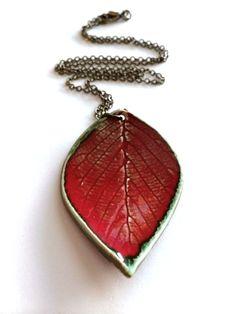 MediumLarge Red Ceramic Leaf Pendant by AlainaSheenDesigns on Etsy, $22.00 #Jewelry #Leaf #Necklace
