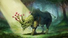 Fantasy - Creature Wallpaper. I love how the flowers completely alter this creaure's intimidating appearance.