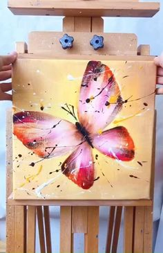 Simple Canvas Paintings, Small Canvas Art, Diy Canvas Art, Acrylic Painting Canvas, Butterfly Painting, Simple Butterfly Drawing, Canvas Painting Tutorials, Art Painting Gallery, Art Drawings For Kids