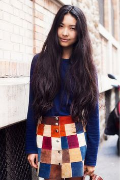 patchwork skirt with blue top