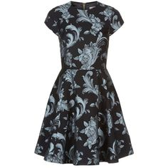 Ted Baker Acanthus Scroll Skater Dress ($255) ❤ liked on Polyvore featuring dresses, fit and flare dress, vintage day dress, black fit and flare dress, going out dresses and vintage party dress