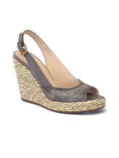 84510977100c Prada - Gray Leather Slingback Espadrilles Sz 9.5 Espadrille Sandals