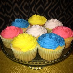 Colorful jumbo cupcakes