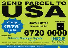 It's been a #pleasure to announce #EmotionExpress #offer to send Diwali Parcels to #USA, #UK & #Worldwide. Now get a free ride by Uber to book a International Parcel with us. To know more CALL US at 18002091025 Delivering Happiness, Globally. #courier #parcel #delivery #shipment #FestiveOffer #specialoffer #Discount #FreeRide #uber