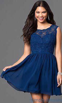018a70bffb Chiffon V-Back Lace Bodice Short Dress