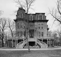 Hegeler Carus Mansion in La Salle, Illinois, built in the 1870's. Love the wrap around main floor porch, pillared area below and that double staircase. Sad abandonment Victorian Architecture, Beautiful Architecture, Beautiful Buildings, Beautiful Homes, Beautiful Places, Beautiful Life, Old Abandoned Houses, Abandoned Buildings, Abandoned Places