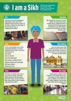 I am a Sikh – Religious Studies Poster Religious Studies, Religious Education, Teaching Social Studies, Teaching Resources, School Resources, Teaching Kids, Teaching Religion, School Displays, World Religions