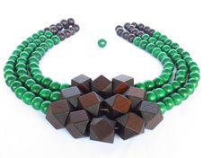 COLOR BLOCK Wood Necklace  Emerald Green by WildflowersAndGrace