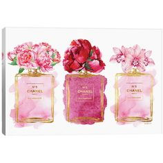 Three Perfume Bottles In Pink Glam Girl Canvas Art Print (255 CAD) ❤ liked on Polyvore featuring home, home improvement, cleaning and nocolor