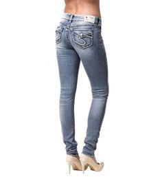 f9f7cf50 NEW Sale Women Silver Mid Rise Suki Curvy Easy Skinny Flap Stretch Jean 27  x 31